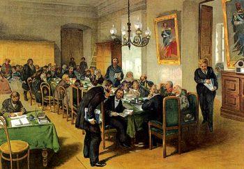 К. Лебедев «В земском собрании» (1907)